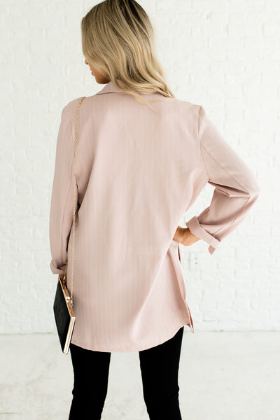 Blush Pink Striped Pinstripe Boutique Business Casual for Women Blazers with Pockets