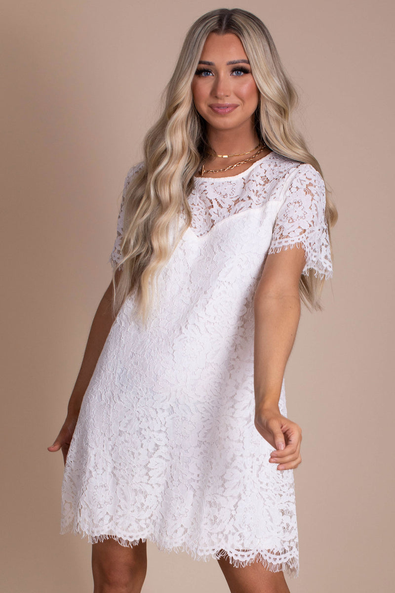 Blissful Moments Lace Mini Dress - Off White