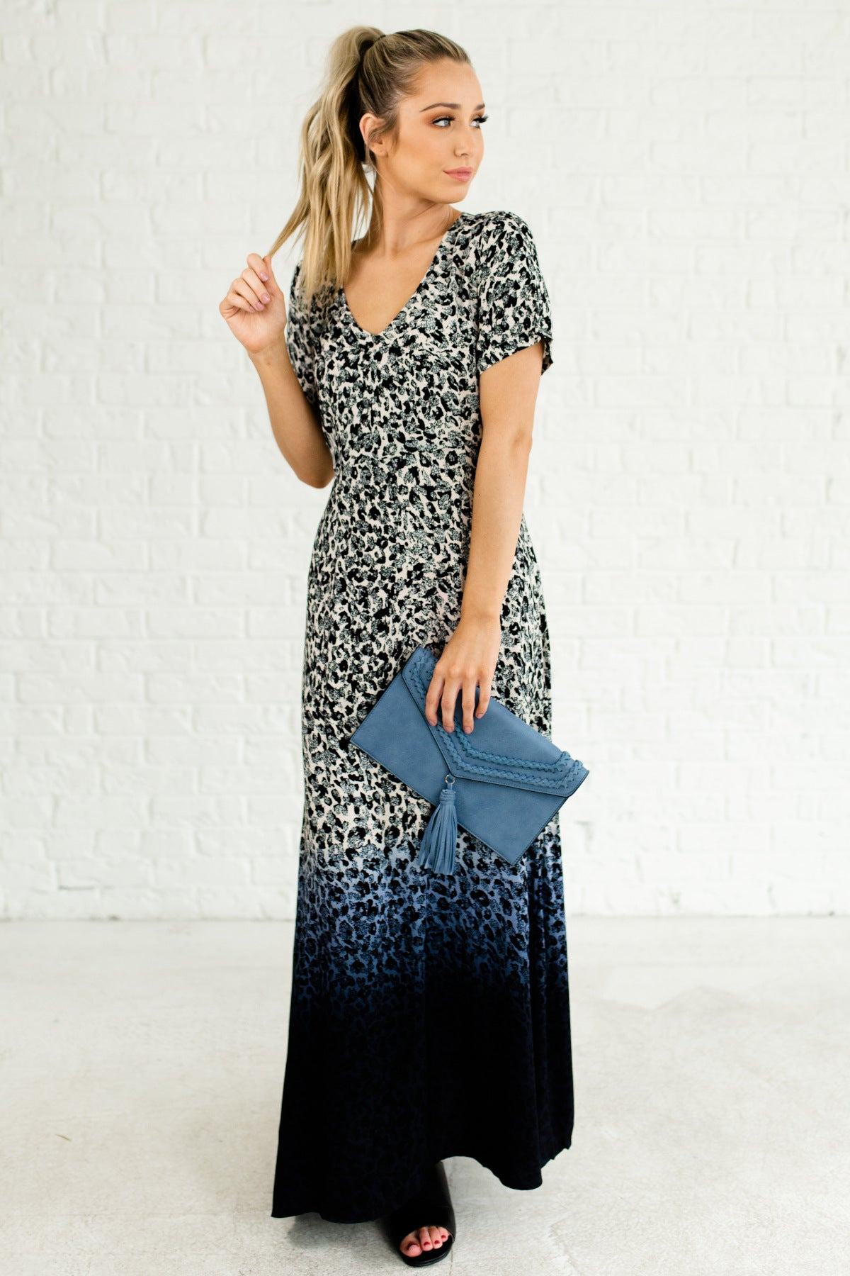 bc6df39dfb Blue Navy Black White Beige Ombre Leopard Print Open Back Maxi Dresses