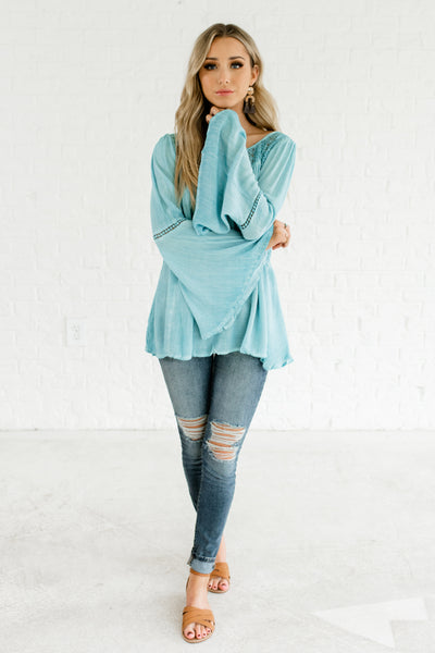 Turquoise Light Blue Cute Peasant Tops with Bell Sleeves and Lace