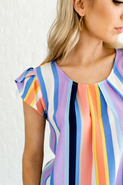 Navy Blue Coral Yellow White Striped Color Block Business Casual Tops for Women