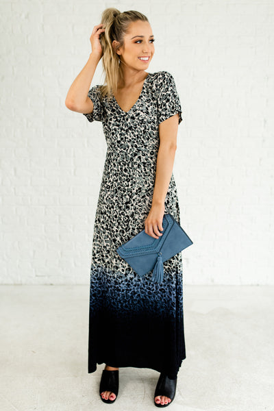 Blue Navy Ombre Dip Dye Leopard Print Open Back Boutique Maxi Dresses