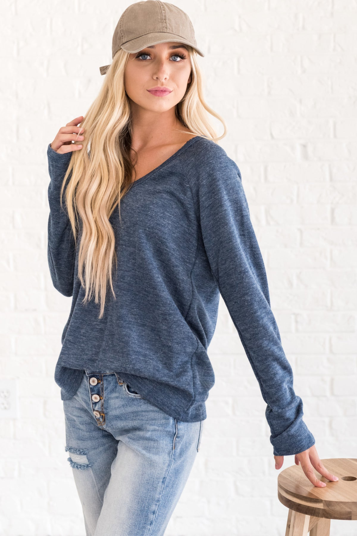 Heather Blue Cute Pullover Soft Long Sleeve Tops for Women