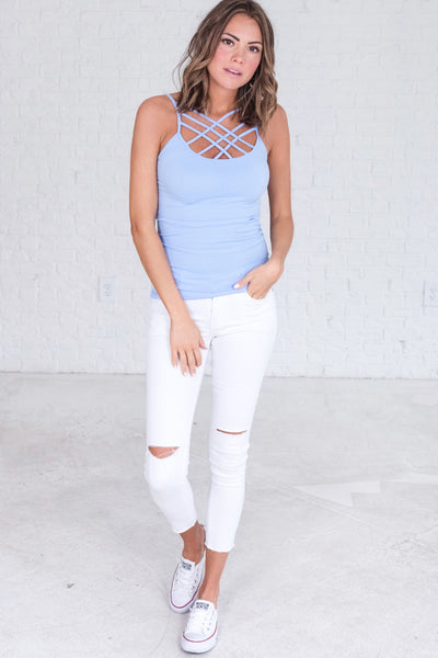 baby blue cute criss cross tank tops for layering