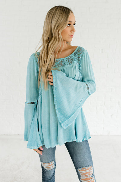 Turquoise Blue Boutique Peasant Tops Bell Sleeves Lace Crochet Details