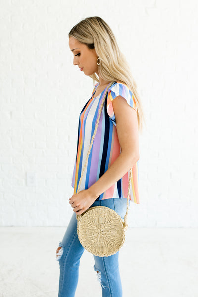 Blue White Coral Beige Yellow Color Block Striped Boutique Tops for Women