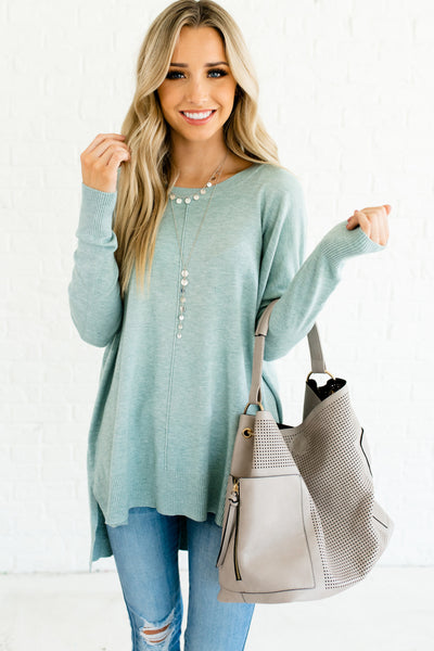 Light Blue Heather Cute Oversized Boyfriend Fit Boutique Sweaters Affordable Online Fashion