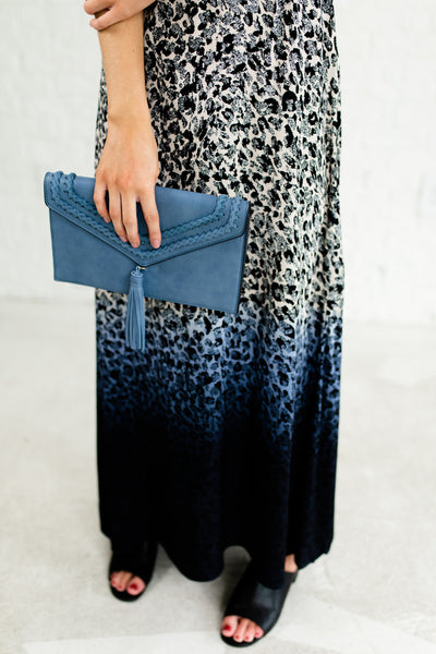 Navy Blue Leopard Print Ombre Maxi Dress with Open Back for Women