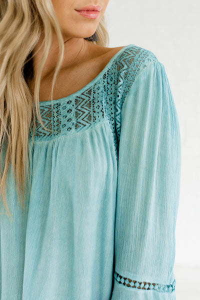 Turquoise Blue Crochet Lace Scoop Back Tassel Ties Peasant Tops for Women