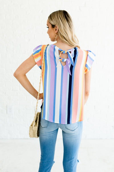 Blue Multicolored Color Block Striped Petal Sleeve Double Bow Back Tops