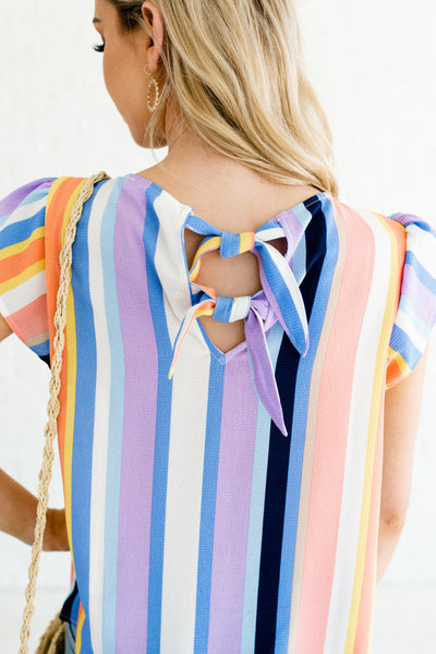 Blue Lavender Navy Peach Coral Striped Color Block Pattern Boutique Tops
