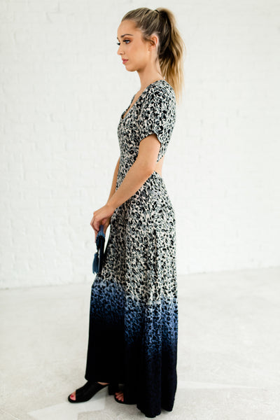 Blue Black Beige Ombre Leopard Print Long Sundresses and Maxi Dresses