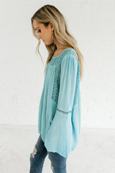 Turquoise Blue Crochet Lace Bell Sleeve Tassel Ties Peasant Tops