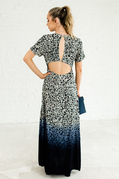 Navy Blue Black White Beige Ombre Leopard Print Cute Maxi Dresses for Women