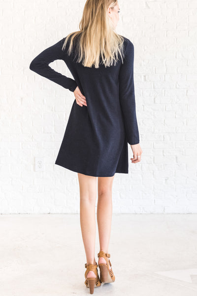 Navy Blue Wrap Winter Dress with Cutout Neckline