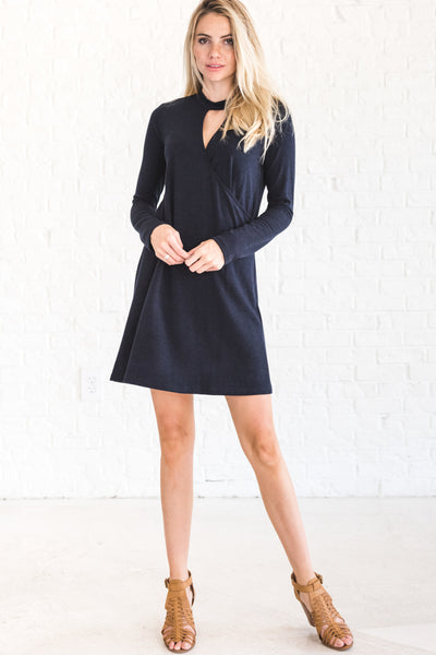 Navy Blue Going Out Wrap Dress with Cut Out Mini Short