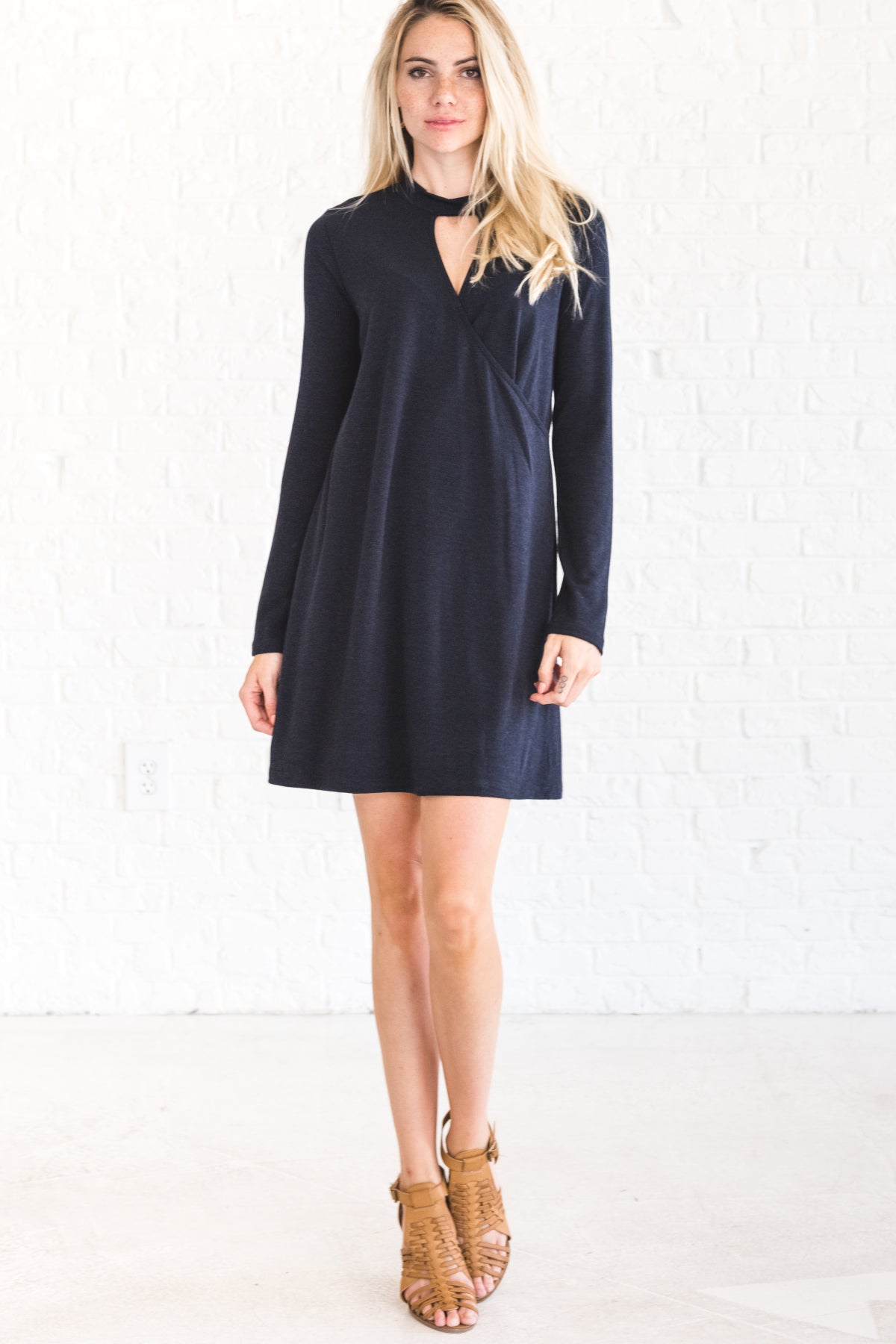 Navy Blue Mini Winter Dress with Nursing Friendly Wrap Style