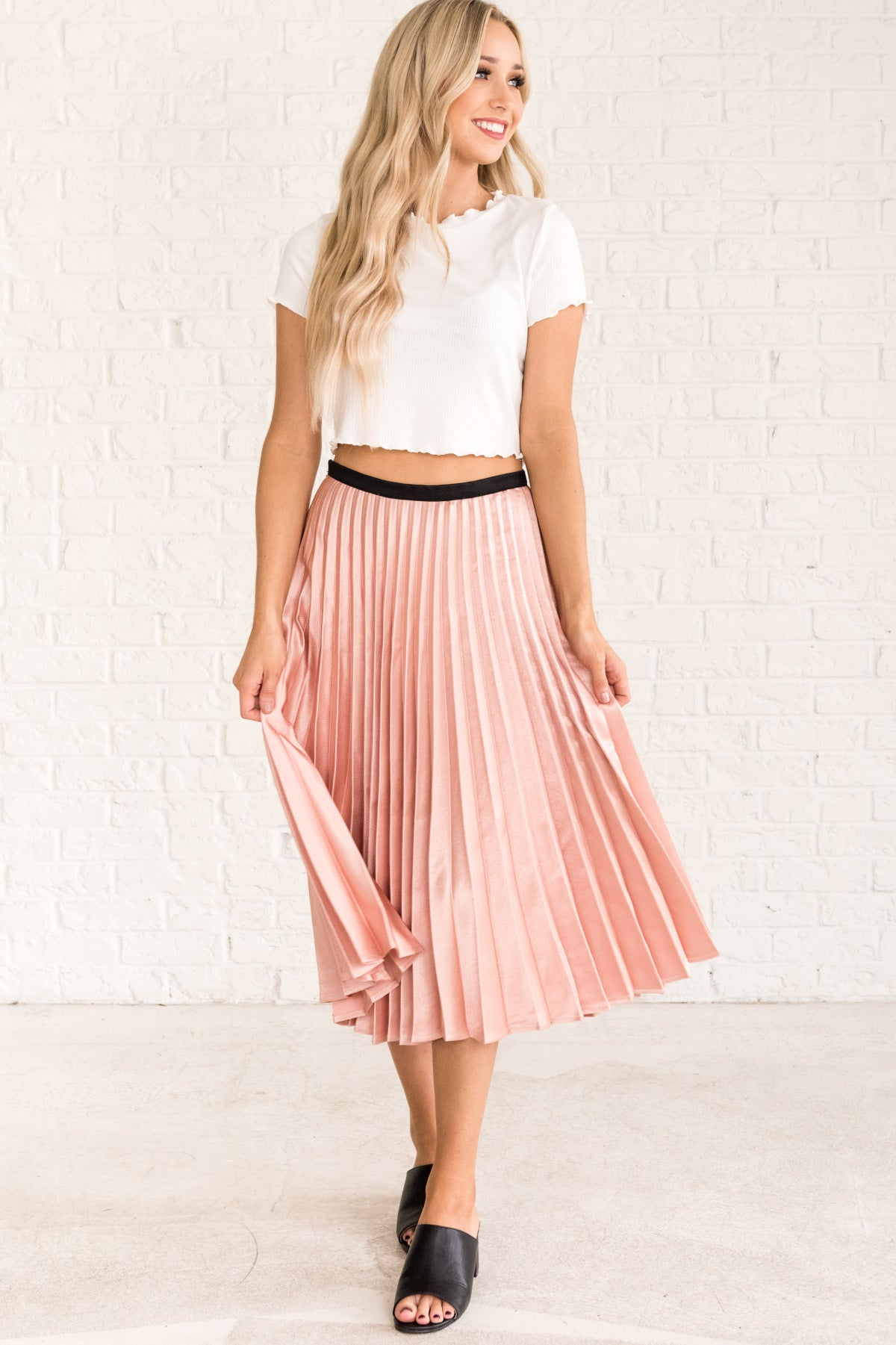 d87e4c1b97 Blush Rose Pink Cute Going Out Dance Pleated Midi Skirts for Women