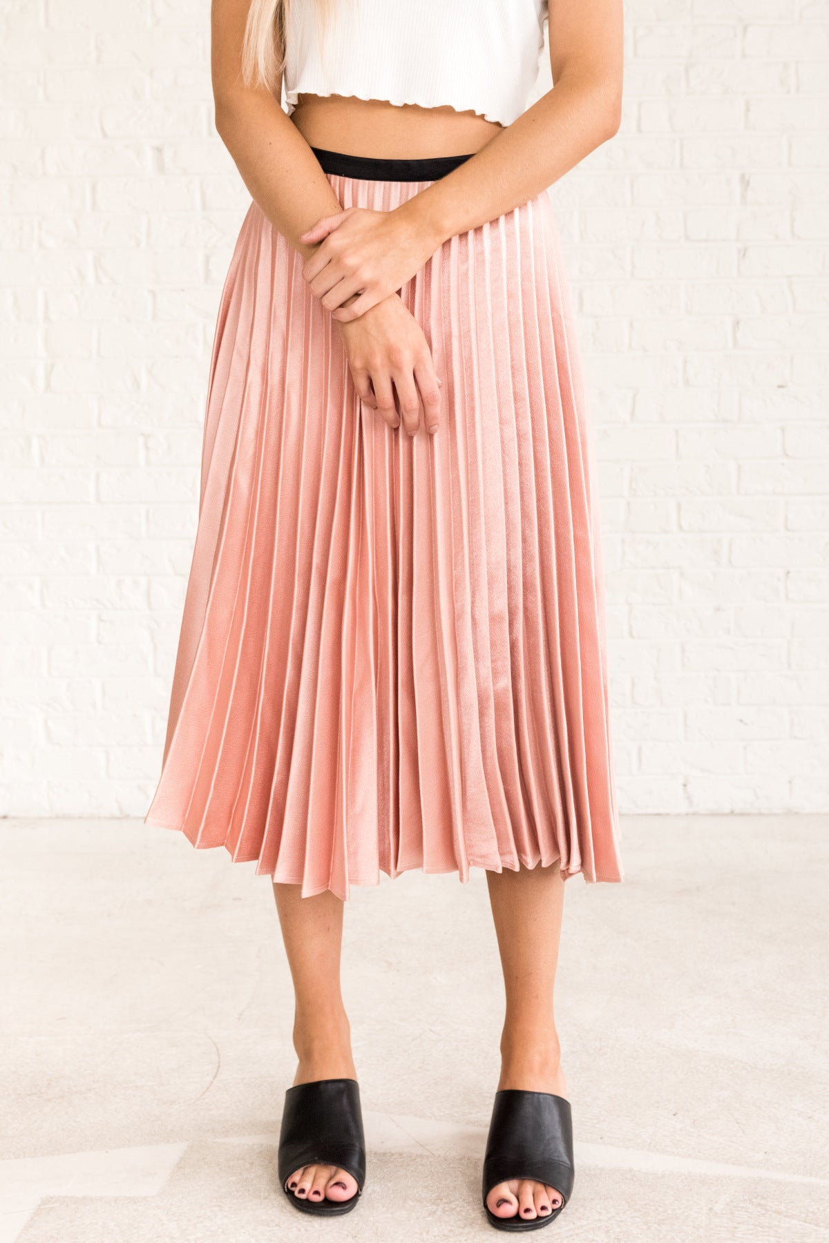 Pink Metallic Cute Midi Skirt with Zipper and Black Waistband