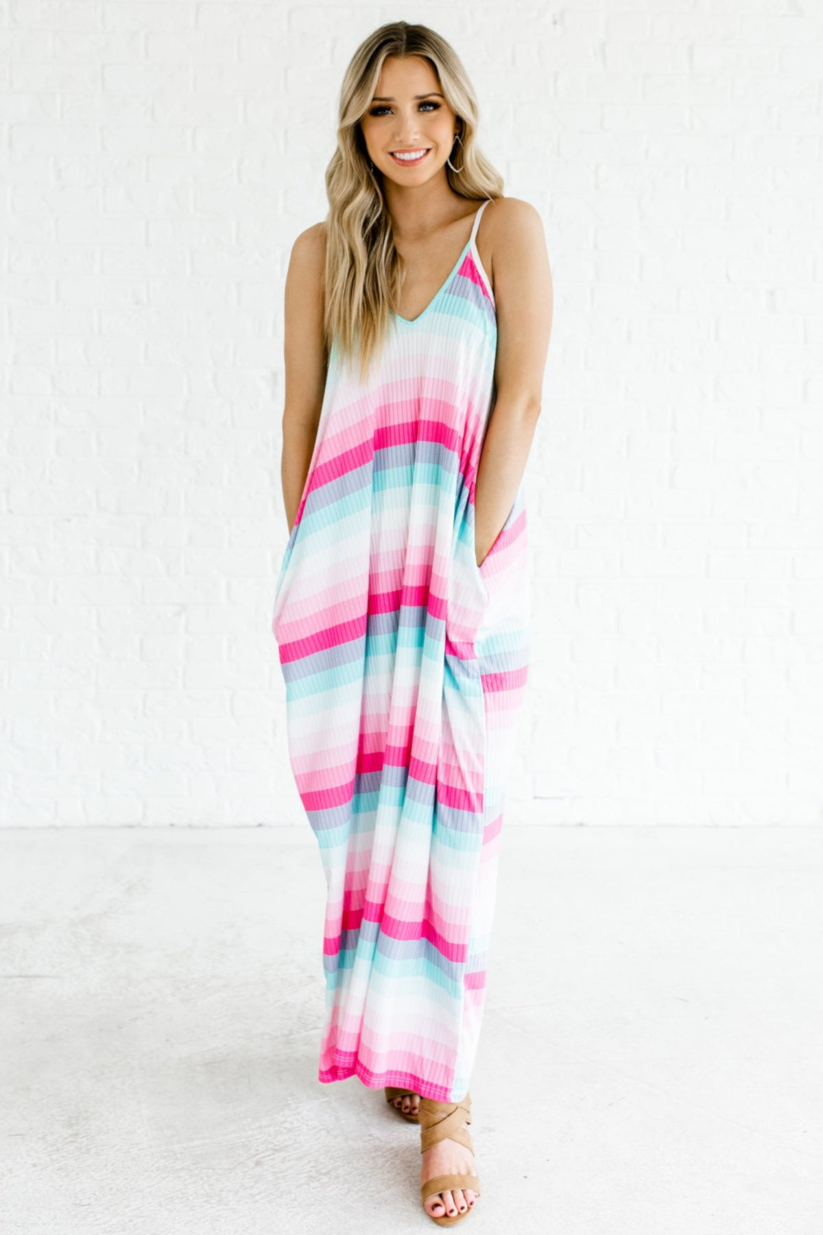 Pink Blue White Striped Cami Tank Maxi Dresses with Pockets for Summer