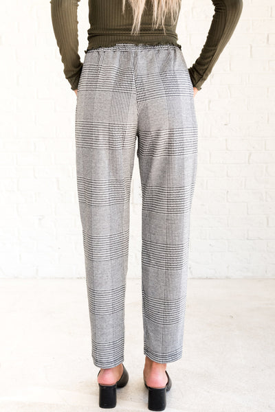 Black White Plaid Pants with Tie Waist Elastic Waist Pockets