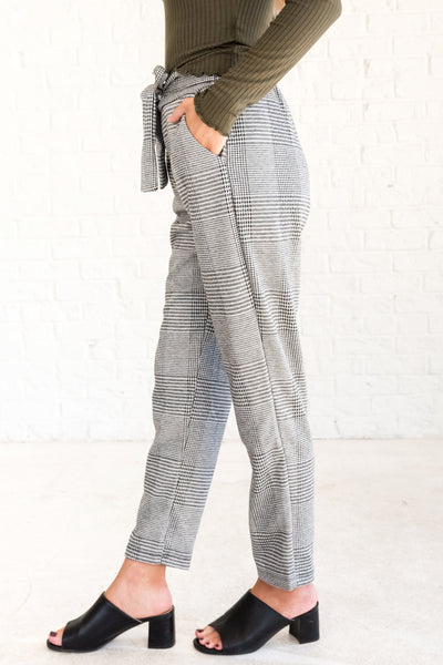 Black and White Plaid Tie Front Office Dress Pants for Fall