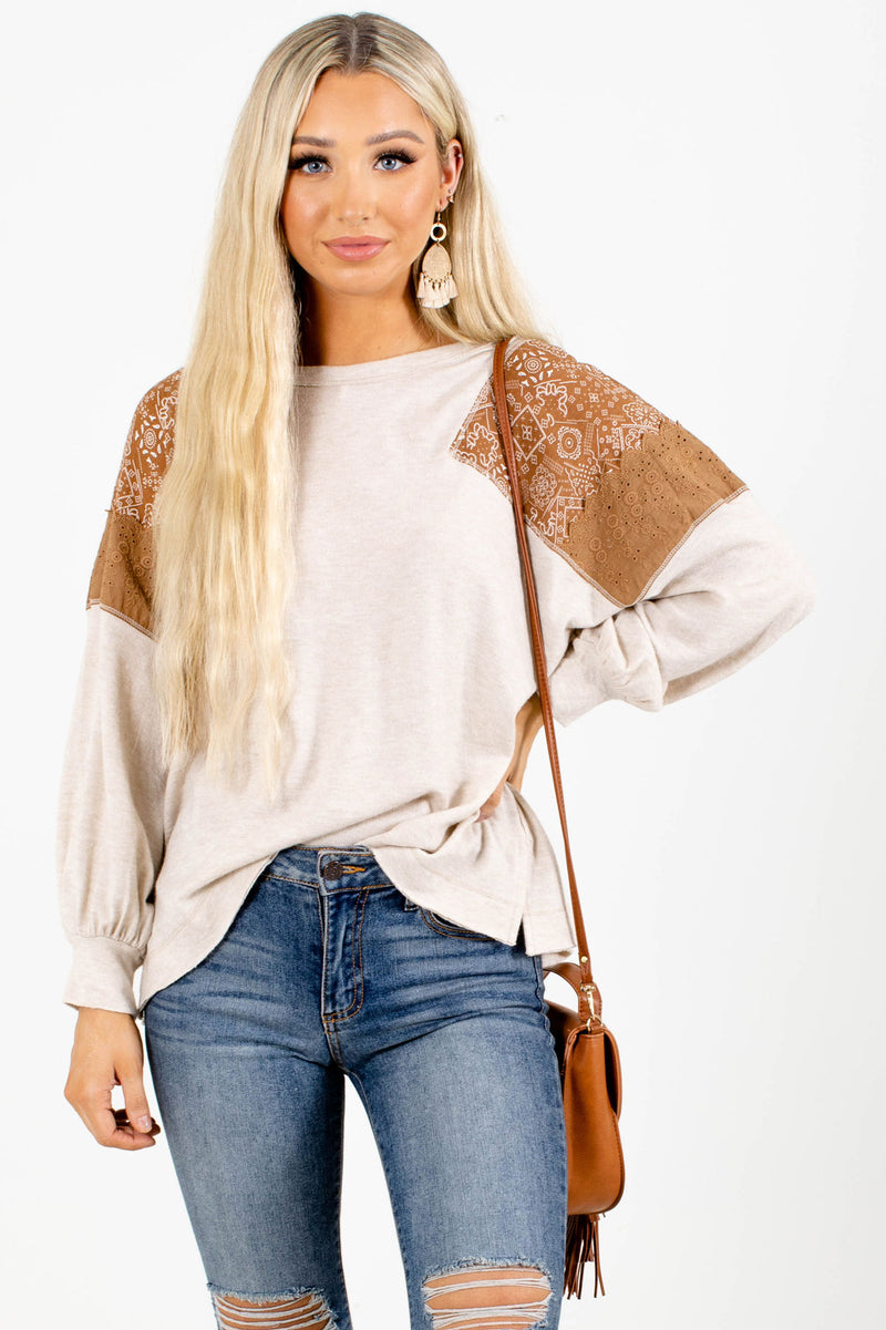 Bound By Time Long Sleeve Top - Light Brown