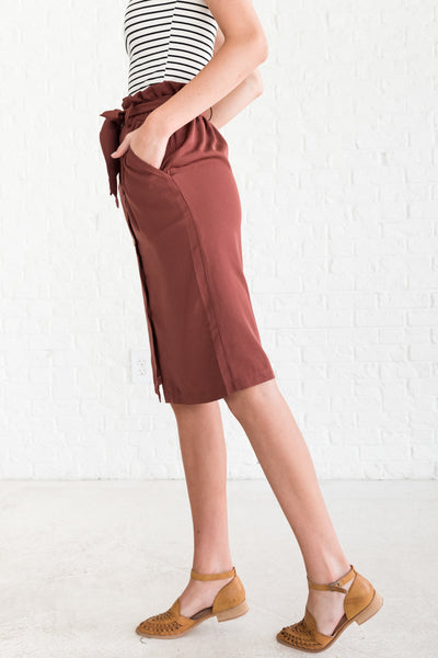 Brick Red Cute Button Up Midi Skirts with Paperbag Waist