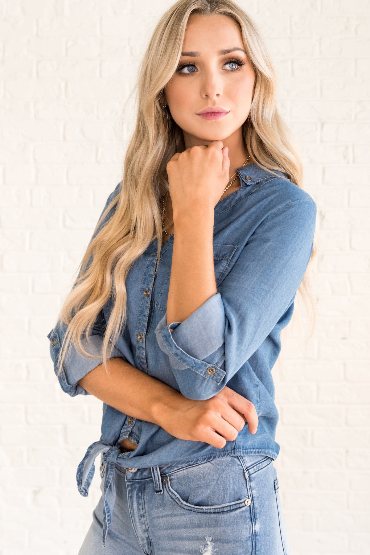 2e8bd05a88f Blue 3 4 Sleeve Chambray Shirt with Tie Front Knot Detail and Cuffed Sleeves