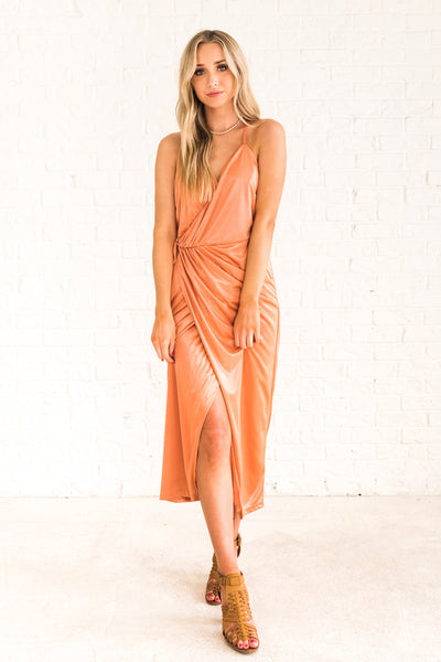 Bronze Orange Cute Glowy Wrap Midi Dresses with Racerback Affordable Online Boutique