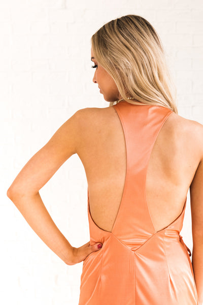 Cosmic Bronze Orange Shiny Racerback Smooth Midi Wrap Dresses for Semi Formal Dances and Parties