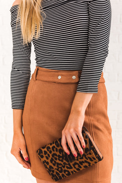 Cognac Brown Cute Boutique Suede Mini Skirts with Faux Suede Material