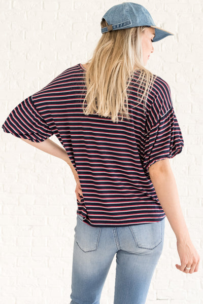 Navy Blue Striped Maternity Friendly Tops for Women