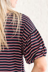 Navy Blue Red White Striped Cute Dramatic Sleeve Tops for Fall