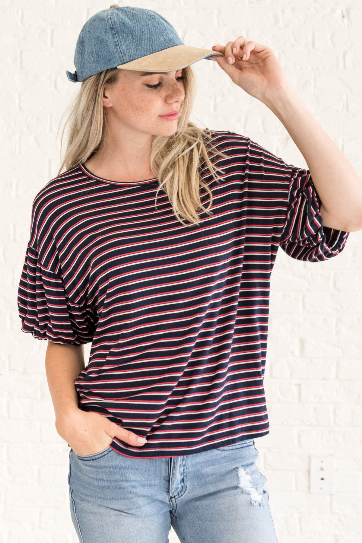Navy Blue Red White Striped Bubble Sleeve Tees and T Shirt Tops