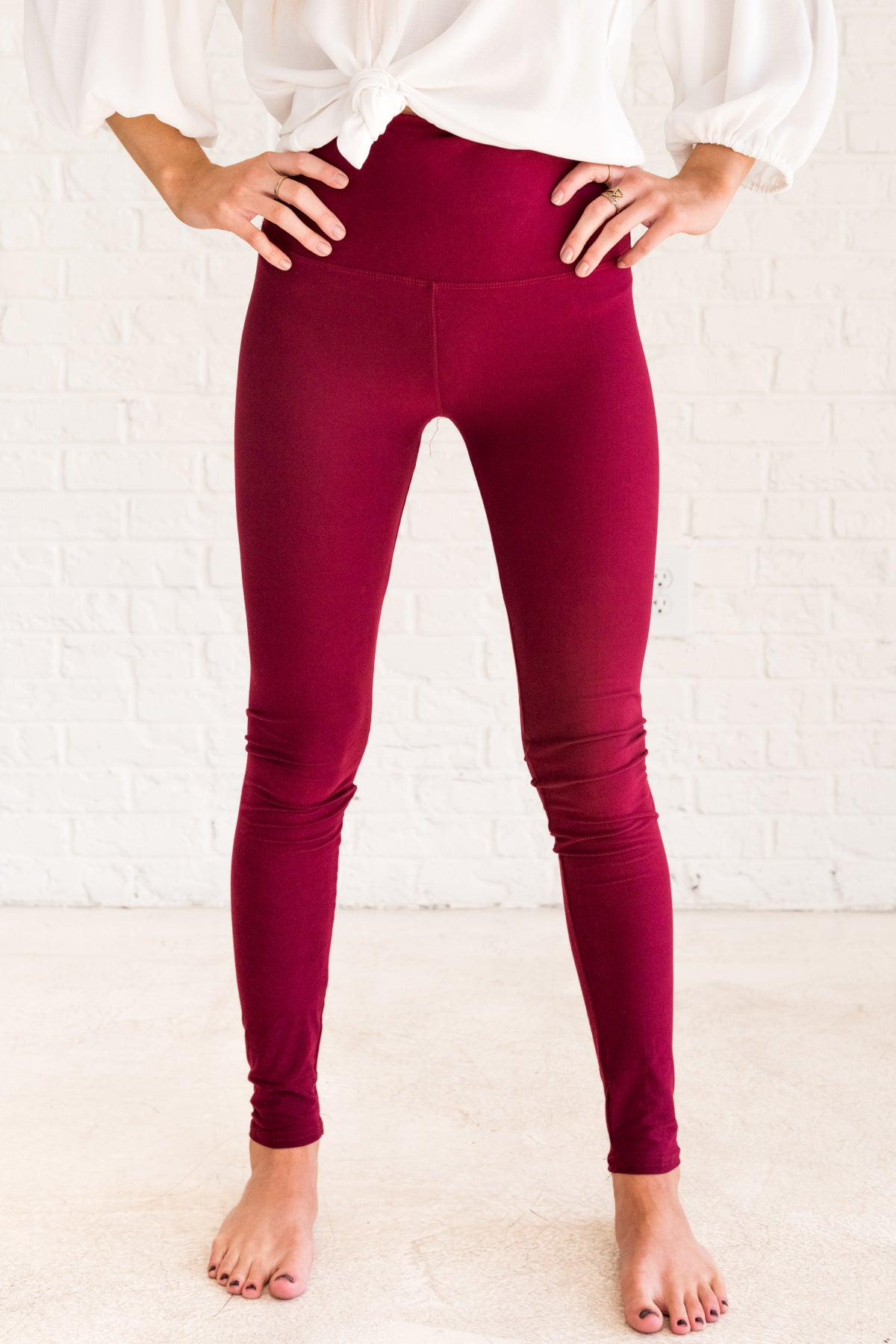 Burgundy Red Cute Best Leggings for Winter Womens Affordable Online Boutique Women