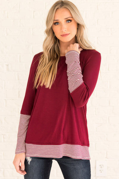 Burgundy Red Striped Long Sleeve Thumbhole Tops Affordable Online Boutique