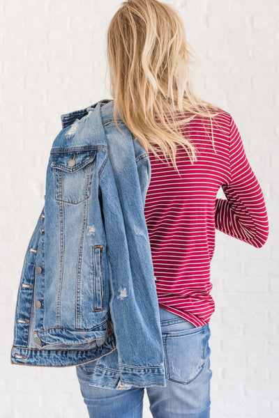 Burgundy Red White Striped Front Knot Long Sleeve Tops for Women