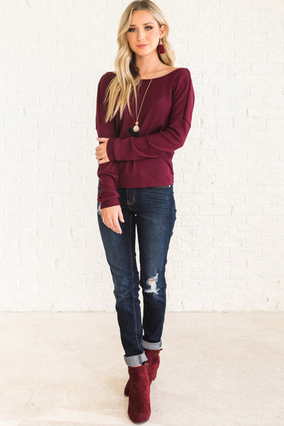 Burgundy Red Waffle Knit Infinity Knot Tops Affordable Online Boutique