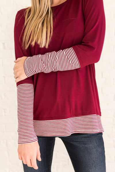 Burgundy Red Long Sleeve Striped Tops with Thumbhole Sleeves