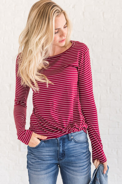 Burgundy Red Striped Long Sleeve Front Knot Tops Affordable Online Boutique