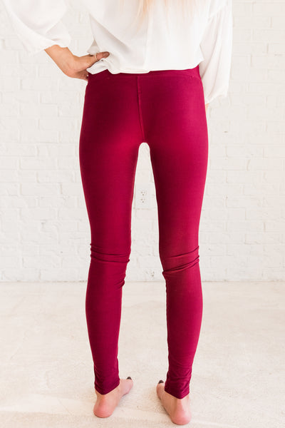 Burgundy Red One Size Soft Stretchy Buttery Soft Best Winter Boutique Leggings
