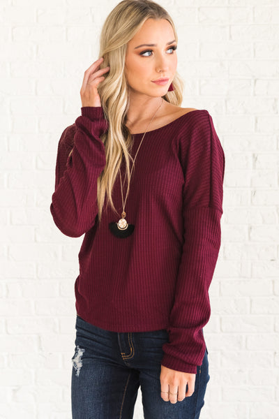 Burgundy Red Waffle Knit Twist Open Back Infinity Knot Top