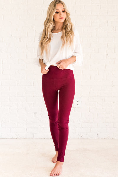 Burgundy Red Cute Best Winter Leggings One Size Affordable Online Womens Boutique