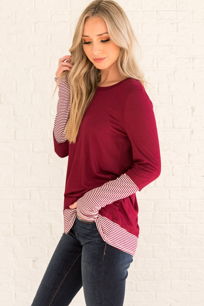 Burgundy Red Cute Striped Long Sleeve Thumbhole Boutique Tops