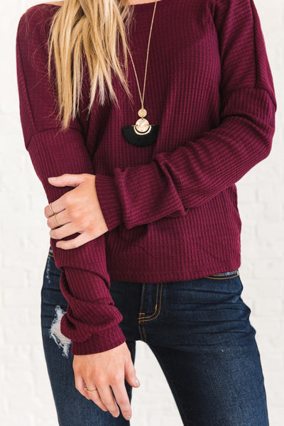 Burgundy Red Cute Boutique Waffle Knit Open Back Knot Tops