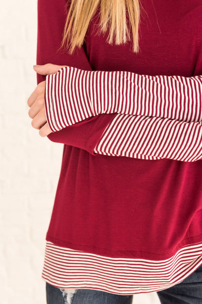Burgundy Red Striped Cute Long Sleeve Thumbhole Tops for Women