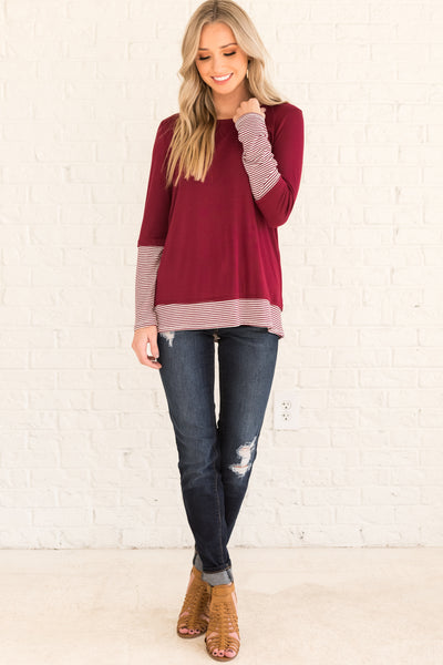 Burgundy Red Long Sleeve Tops with Thumbholes and Striped Accents