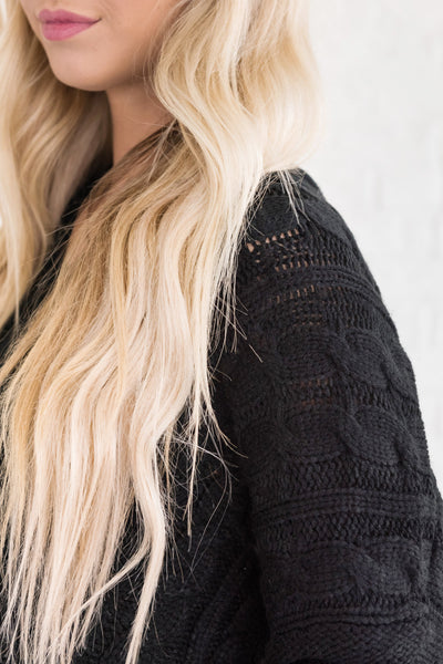black cute chunky knit cable boyfriend oversized high low best sweaters from affordable online boutique