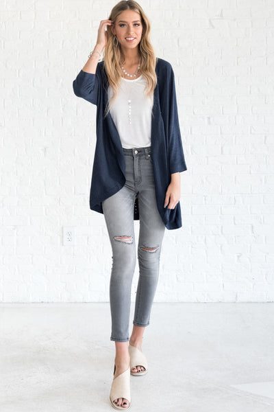 Navy Blue Plus Size Cute Cardigans from Affordable Online Boutique